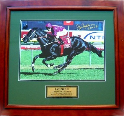 Lonhro, 'The Black Flash' personally signed by Darren Beadman, Framed