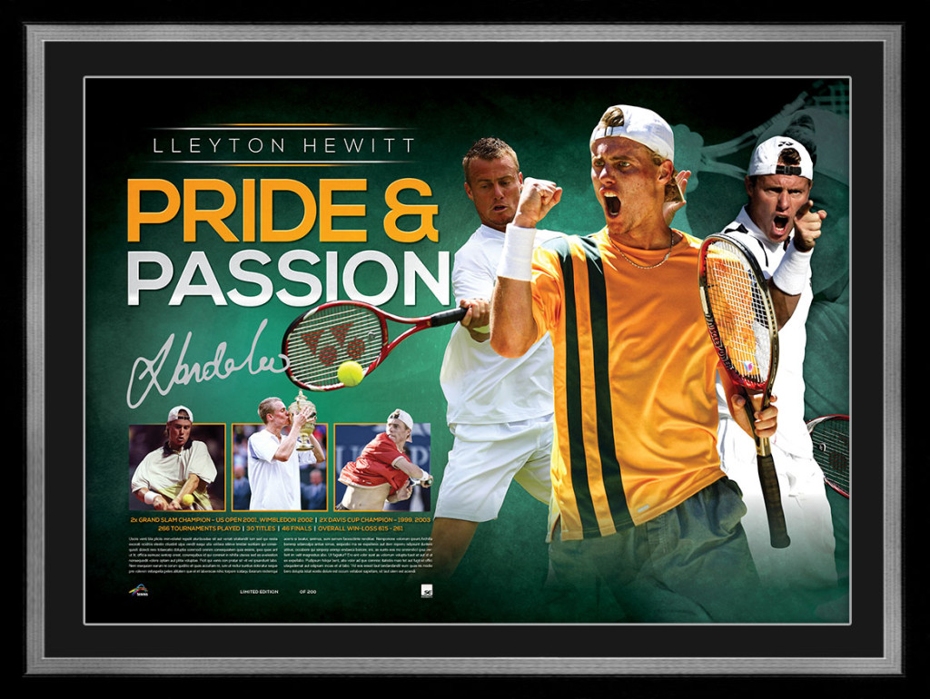 "Lleyton Hewitt Personally Signed ""Pride & Passion"" Career Tribute, Framed"