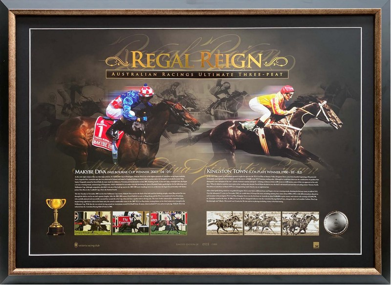 Regal Reign - Makybe Diva & Kingston Town limited edition Sportsprint Framed