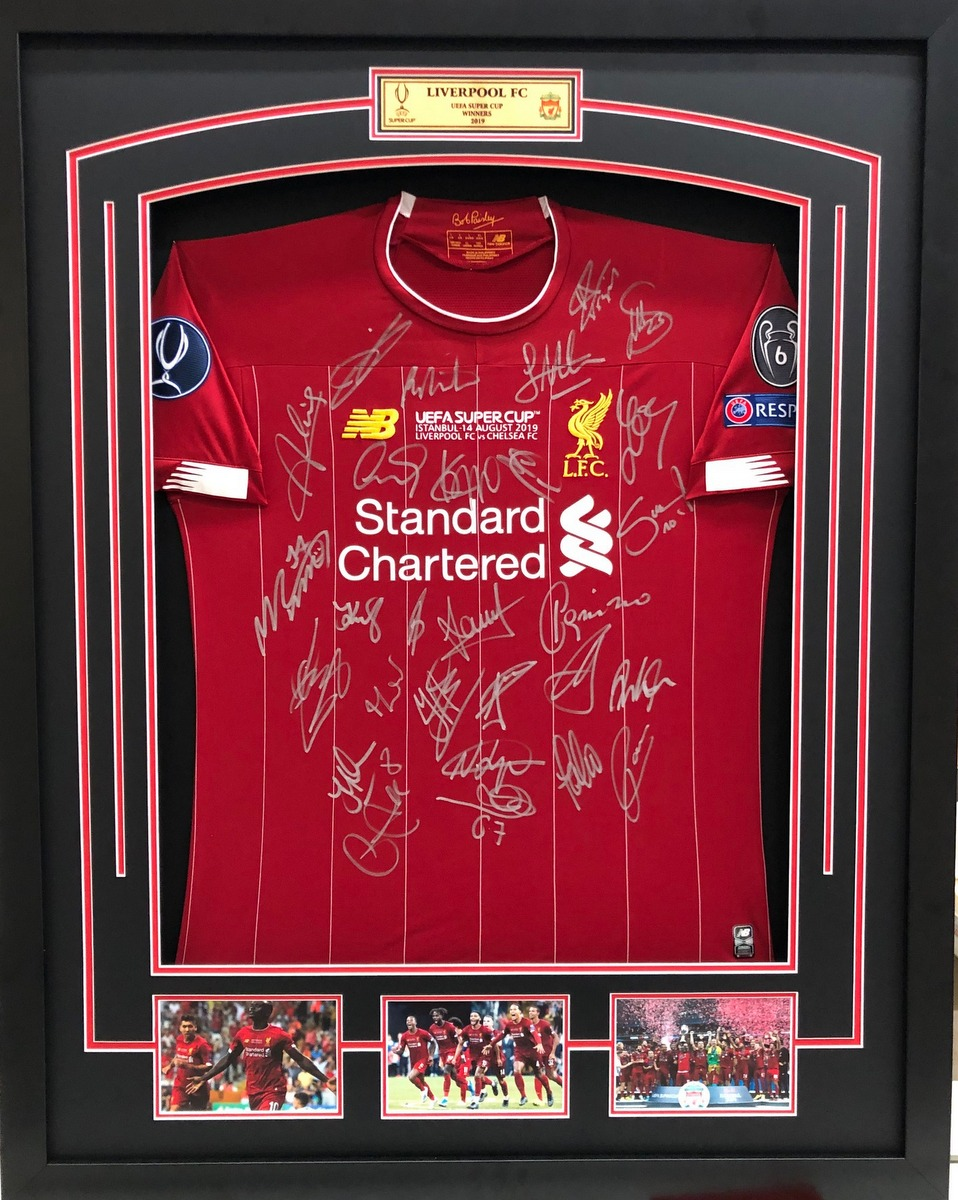 Liverpool FC 2019 Super Cup Champions Team Signed Jersey, Framed - SPECIAL!