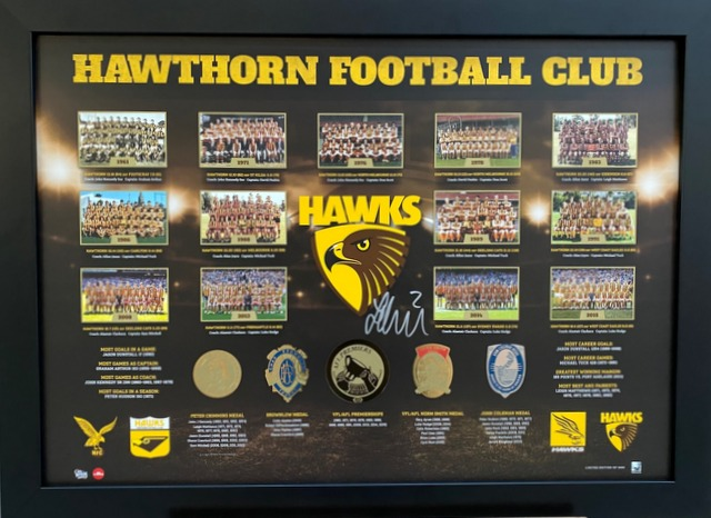 Hawthorn Hawks Premiership History Tribute Personally Signed by Jarryd Roughead, Framed