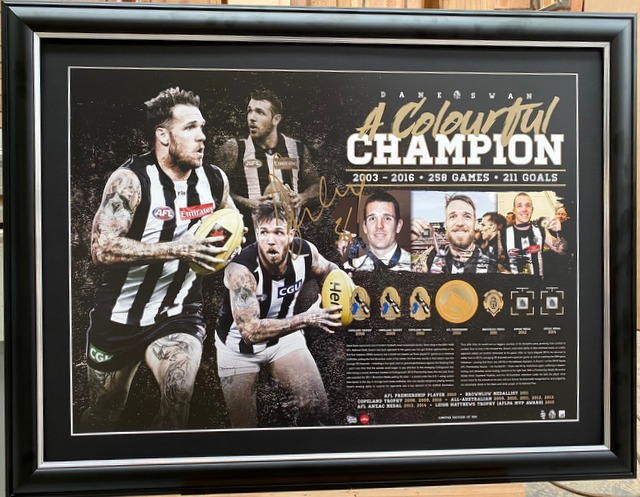 "Dane Swan ""A Colourful Champion"" Personally Signed Career Tribute, Framed, Collingwood Magpies"