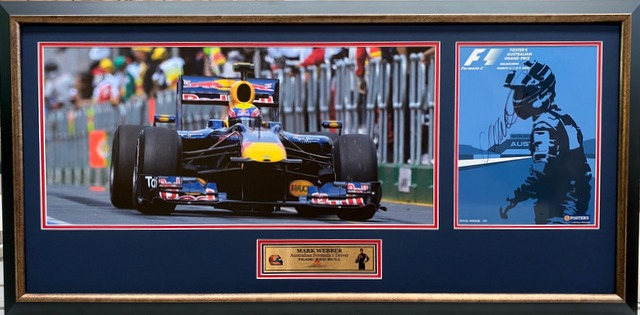 "Mark Webber Personally Signed ""Legends Series"" v2, Framed"