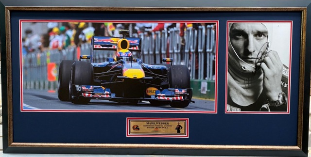 "Mark Webber Personally Signed ""Legends Series"", Framed"