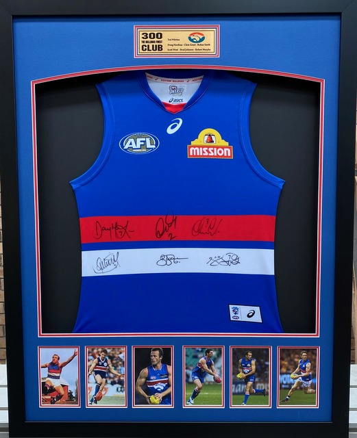 "Western Bulldogs ""300 Club"" 300 Match Tribute Signed Jersey - Hawkins, Johnson, Murphy"