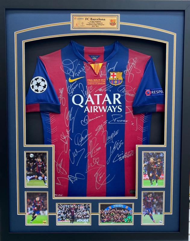 "Barcelona Team Signed 2015 Jersey ""Treble Winners"", Including Neymar, Messi, and Suarez"