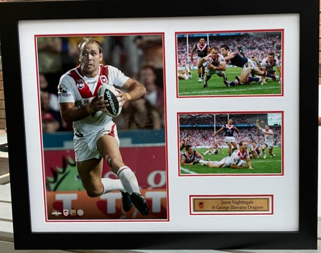 St George Dragons Legends SeriesPersonally Signed by Jason Nightingale, Framed