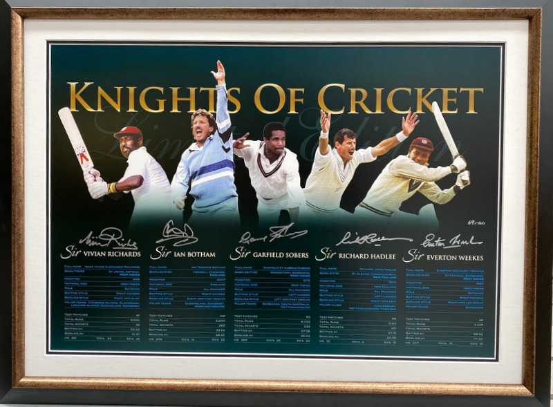 5 Knights of Cricket Personally Signed Lithograph - Richards, Botham, Hadlee, Weekes, Sobers