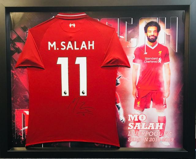 best cheap af22b db249 Mo Salah Personally Signed Liverpool Jersey