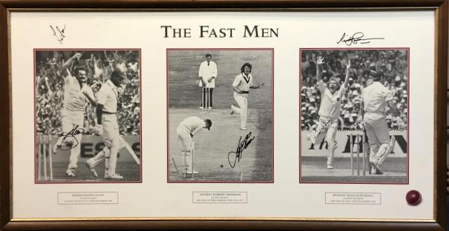 The Fast Men - Lithograph Personally Signed by Dennis Lillee, Jeff Thomson, Rodney Hogg, Len Pascoe and Sir Richard Hadlee - WOW!