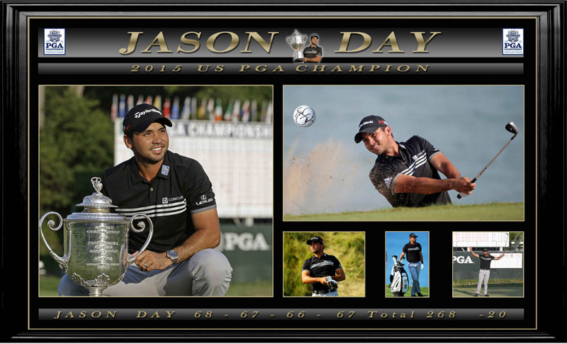 "Jason Day Personally Signed Golf Ball US PGA ""Tribute"", Framed"