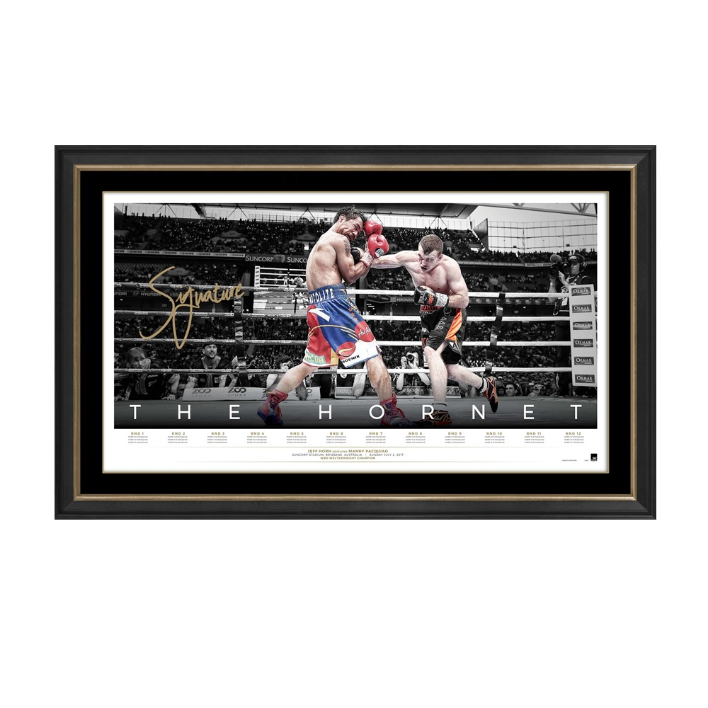 "Jeff Horn ""The Hornet"" Personally Signed Lithograph, Framed"
