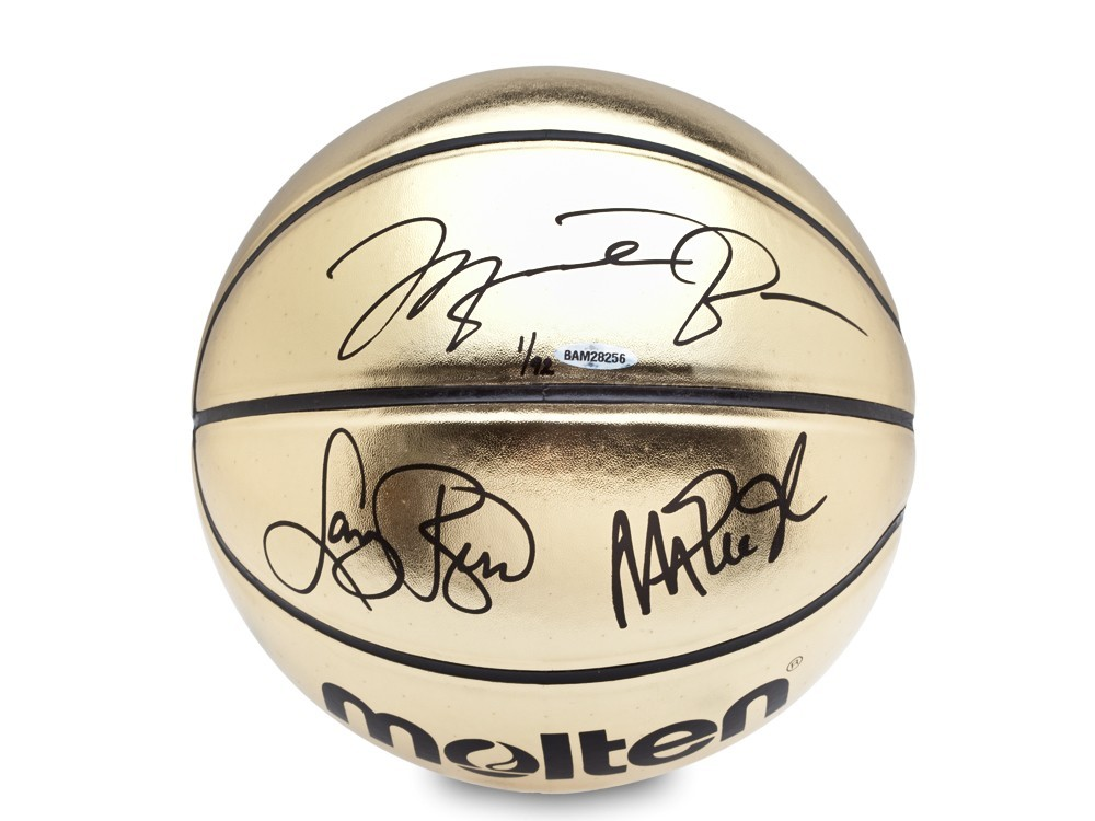 Michael Jordan, Magic Johnson and Larry Bird Personally Signed Molten Gold Trophy Basketball, UDA, Ltd Ed of 92