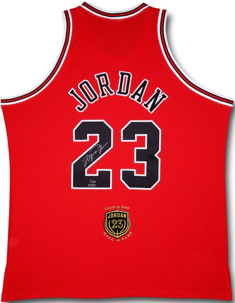 Michael Jordan Hand Signed & Inscribed Bulls 2009 HOF PATCH Red Jersey, UDA LE 123