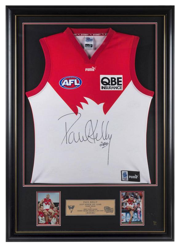 Paul Kelly Sydney Swans Personally Signed Jersey, Framed