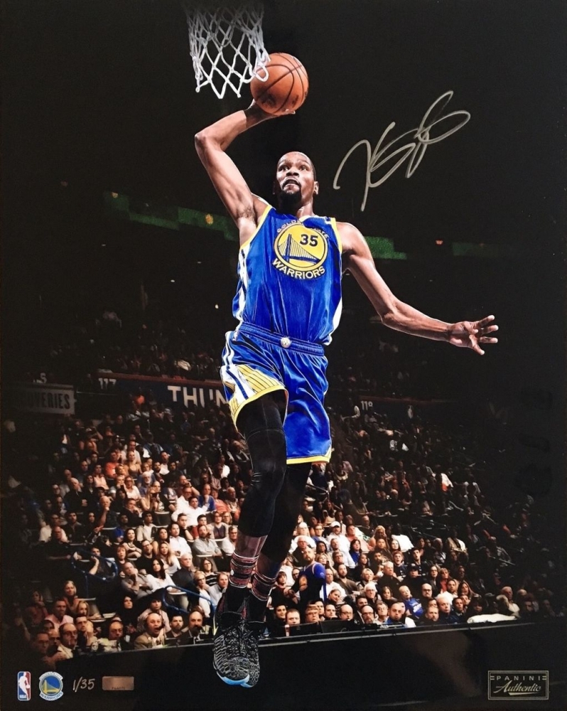 "Kevin Durant Signed Warriors ""Slam Dunk"" LE 16x20 Photo (Panini COA)"