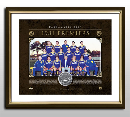 Parramatta Eels Signed and Framed Premiership Anniversary Medallion
