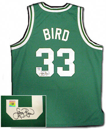 Larry Bird signed authentic style celtics jersey -green
