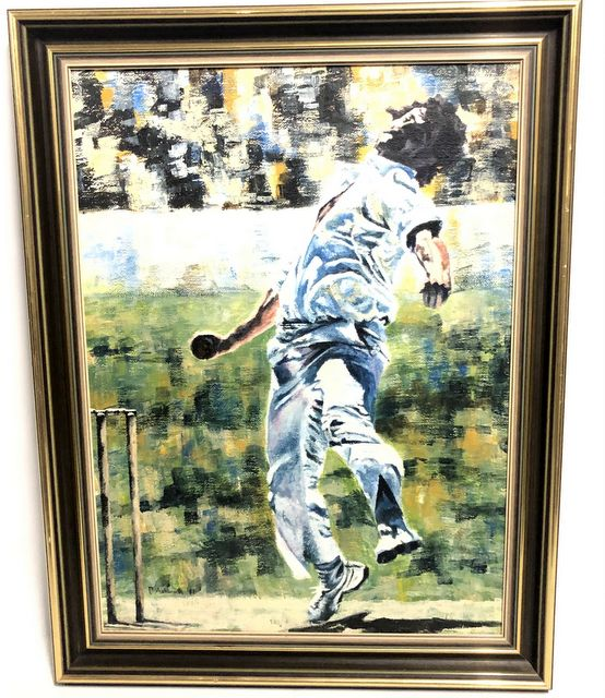 "Dennis Lillee ""In Stride"" Original Oil Painting by P Ashworth, Framed"