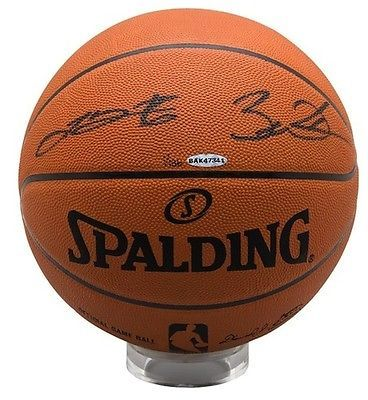 Lebron James and Dwyane Wade Dual Signed Basketball, Upper Deck Authenticated