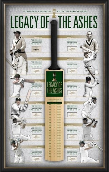 """Legacy of the Ashes"" Bat Personally Signed by 11 Australian Captains, Framed - Bradman, Chappells, Ponting, Border, Waugh"