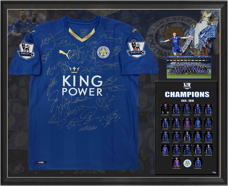 Leicester City 2015-2016 Team-Signed Jersey - Vardy, Schmeichel, Dyer