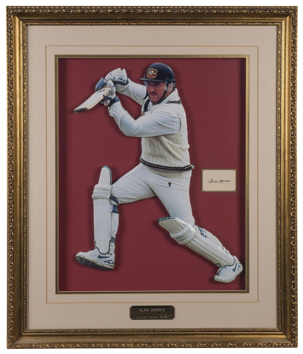 "Allan Border Personally Signed ""Border in Three Dimensions"", Personally Signed, Framed"