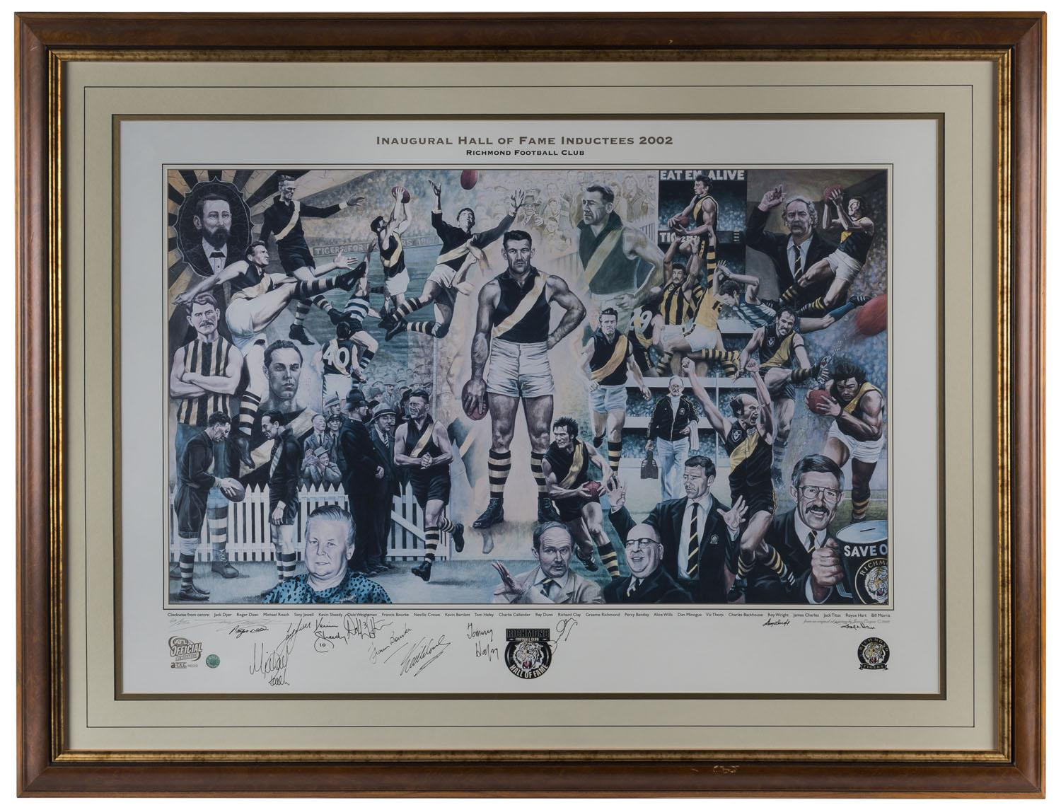 Richmond Tigers Inaugural Hall of Fame 2002 Signed Inductees, Framed - Hafey, Sheedy, Hart