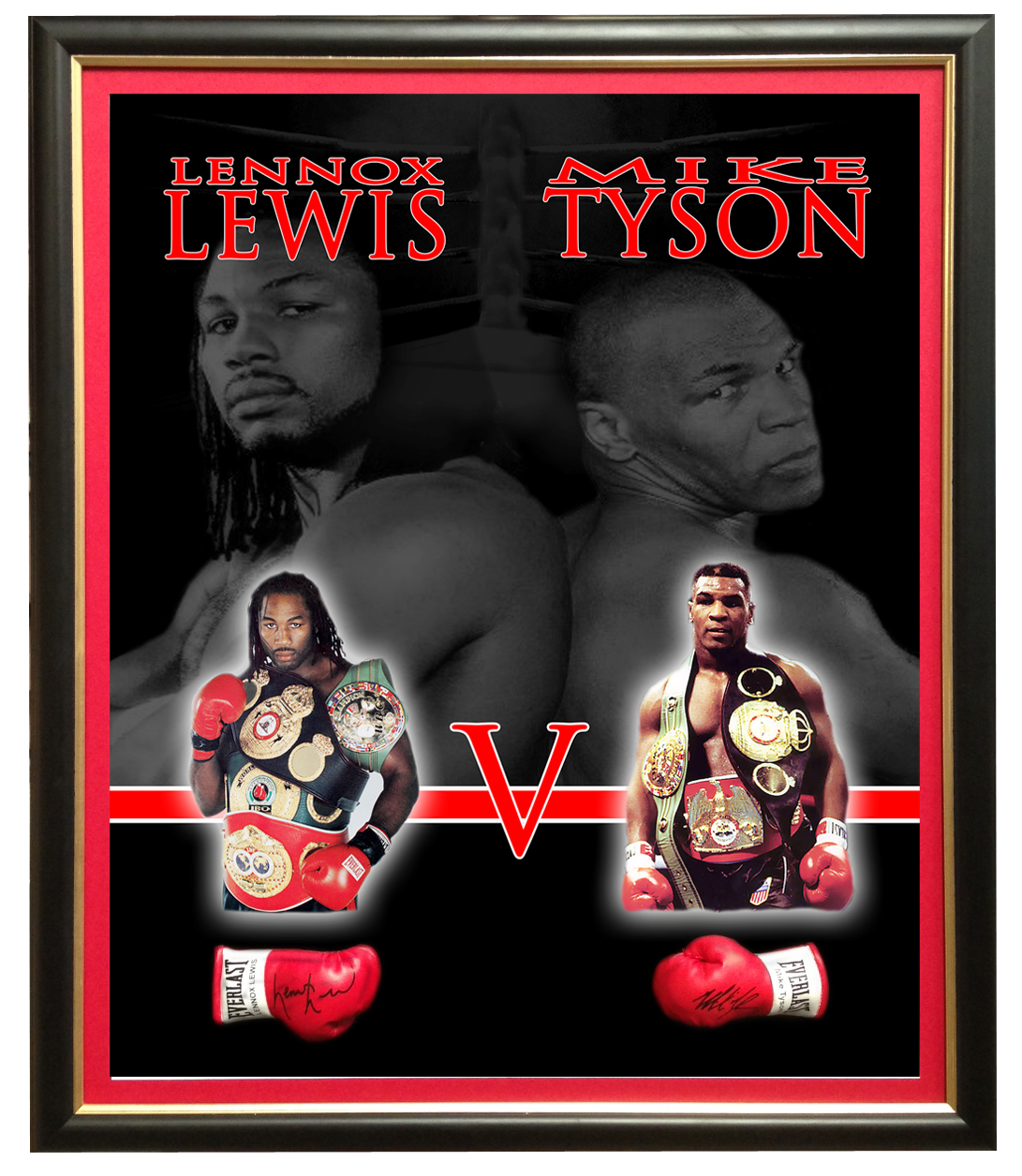 Rivalry Series - 'Lennox Lewis vs Mike Tyson' Mini Glove Display, Framed with Facsimile Signatures