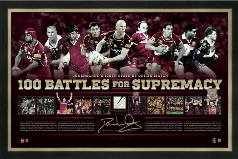"Queensland Maroons Origin ""100 Battles For Supremacy"" Personally Signed by Darren Lockyer, Framed Incl Match Ball Piece"