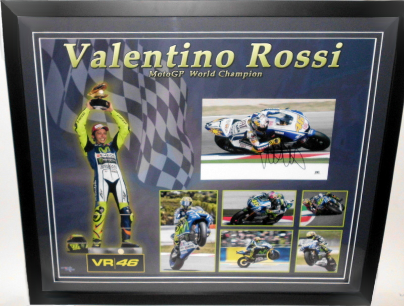 Valentino Rossi Personally Signed Photo and Career Montage, Framed