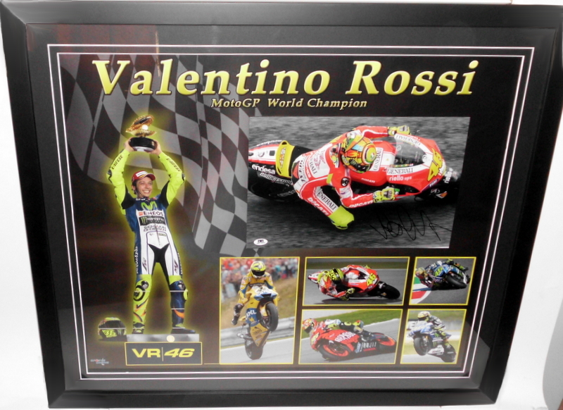 Valentino Rossi Personally Signed Photo and Career Montage, Framed V6