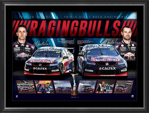 Raging Bulls - Shane Van Gisbergen and Jamie Whincup Personally Signed Lithograph, Framed