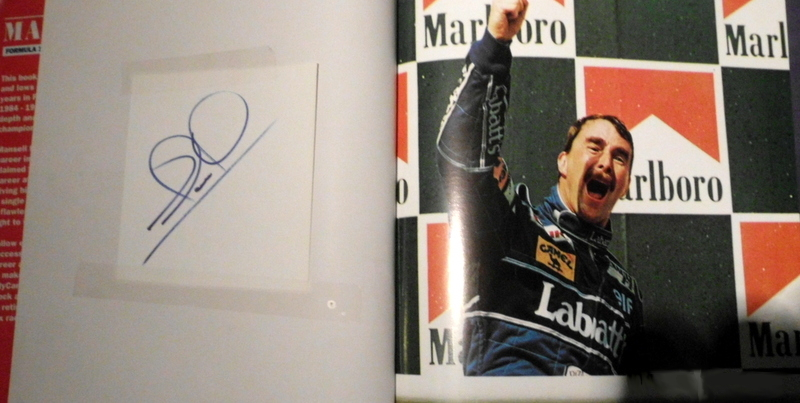 "Nigel Mansell Personally Signed ""Mansell - Formula One and Indycar Champion"""