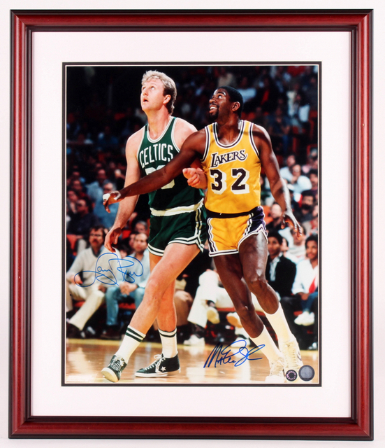 "Larry Bird & Magic Johnson ""Match Up"" Personally Signed Custom Framed Photo (Schwartz COA)"