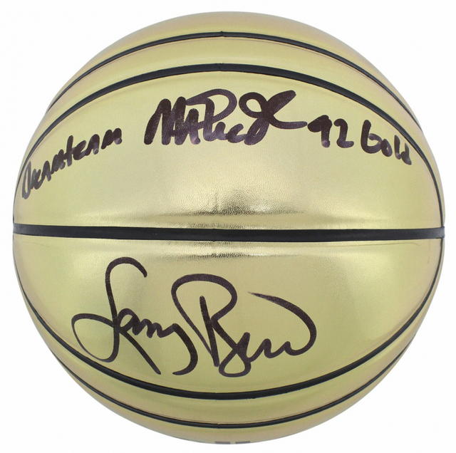 Magic Johnson and Larry Bird Personally Signed Gold Molten Basketball With Inscription