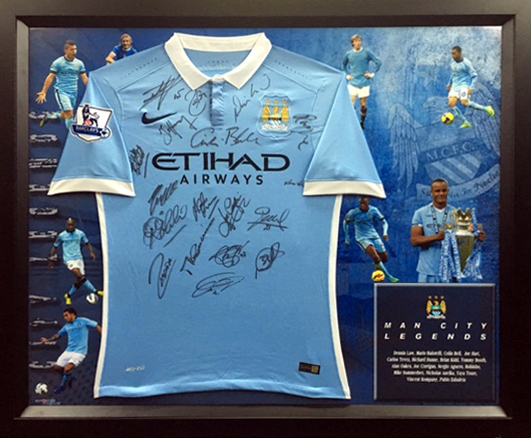 "Manchester City ""The Legends"" Personally Signed Jersey - Hart, Kidd, Aguero"