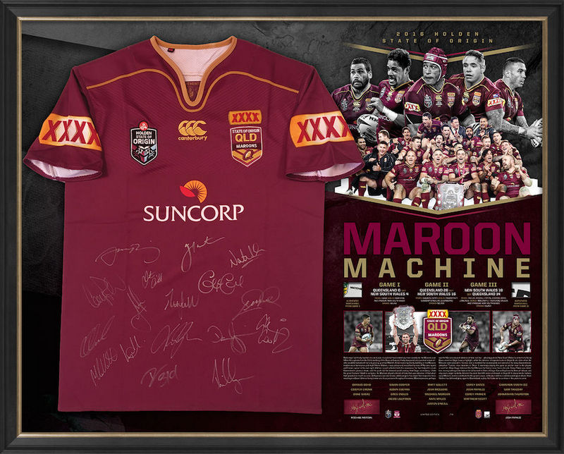 Queensland Maroons 2016 State of Origin Success Squad Signed Jersey Featuring the Legends