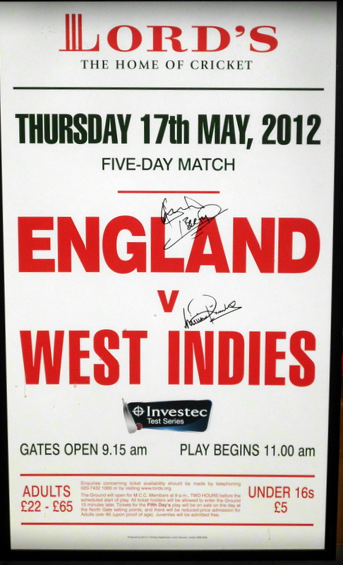 "Viv Richards and Ian Botham Personally Signed Lords ""Match Day"" Sign - Fantastic!"