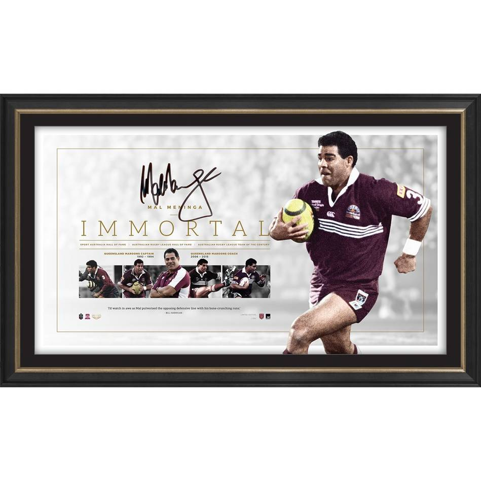 "Queensland Maroons Mal Meninga Personally Signed ""Immortal"" Lithograph, Framed"
