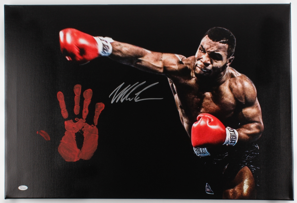 Mike Tyson Personally Signed 60cm x 50cm Giclee on Gallery Stretched Canvas with Original Handprint (JSA)