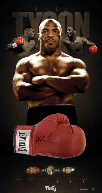 Mike Tyson Personally Signed Boxing Glove, Framed