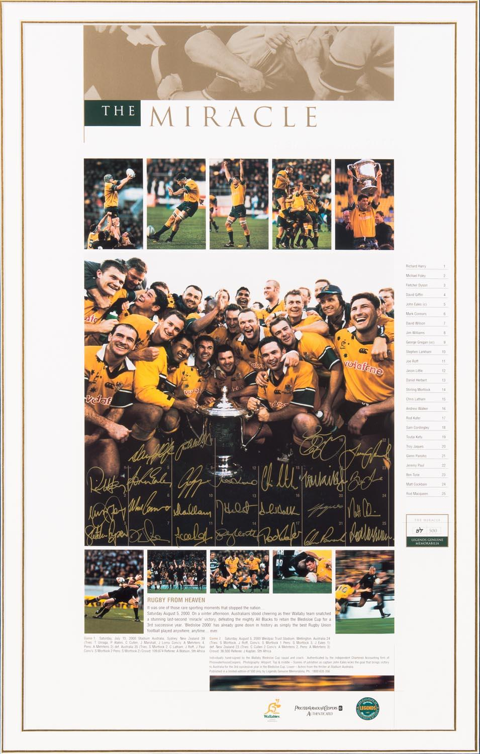 """The Miracle - Bledisloe Cup 2000"" - Personally Signed by 25 Wallabies, Framed"