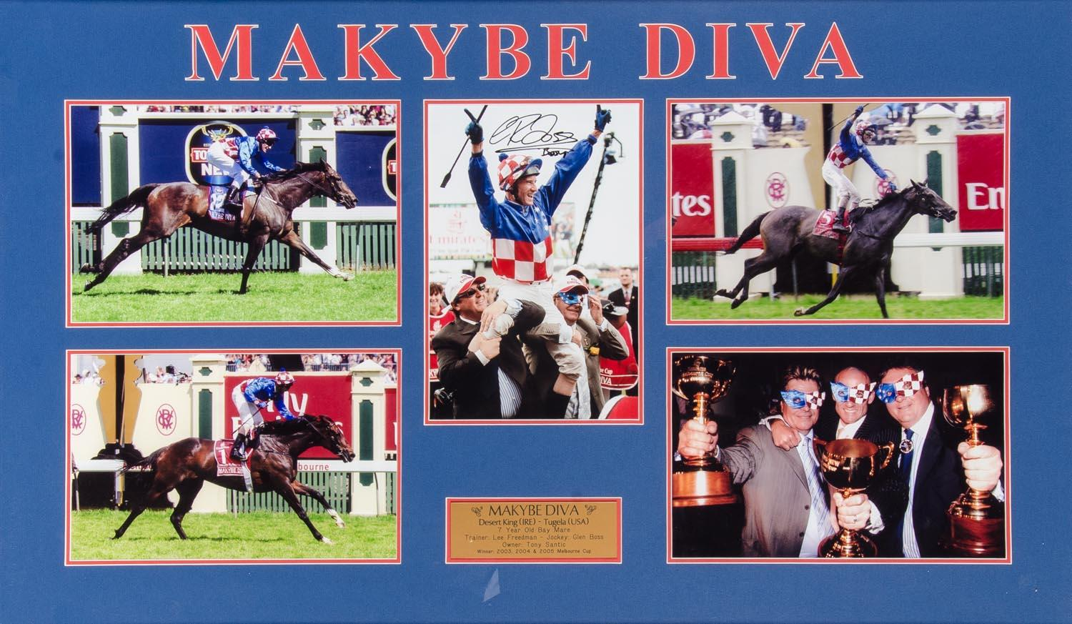 "Makybe Diva ""Tribute"", Personally Signed by Glen Boss, Framed"