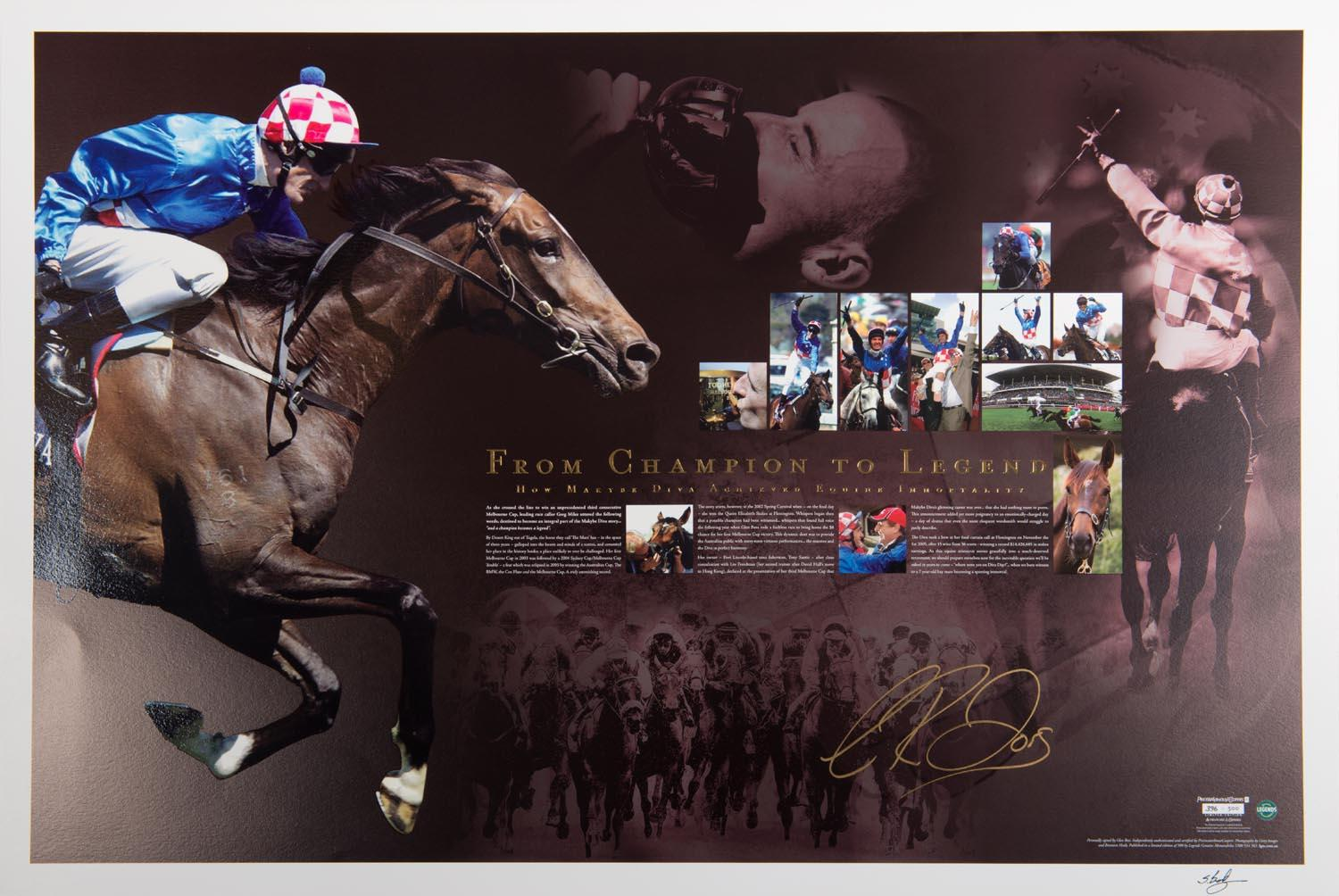 Makybe Diva 'From Champion To Legend' Signed by Glen Boss