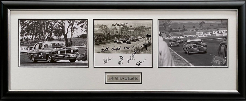 "Ford GTHO Falcon ""The Greatest Ford"" 1971 Bathurst Tribute Signed by 5 Incl Moffat, Framed"