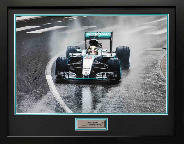 "Lewis Hamilton ""In The Rain"" Personally Signed Lithograph, Framed"