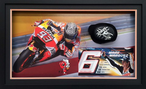 Marc Marquez Race Worn Knee Slider, Personally Signed, Framed