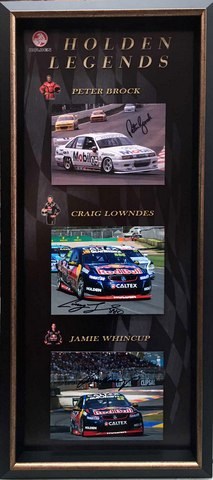 Legends of Holden V8 - Personally Signed by Peter Brock, Craig Lowndes and Jamie Whincup, Framed