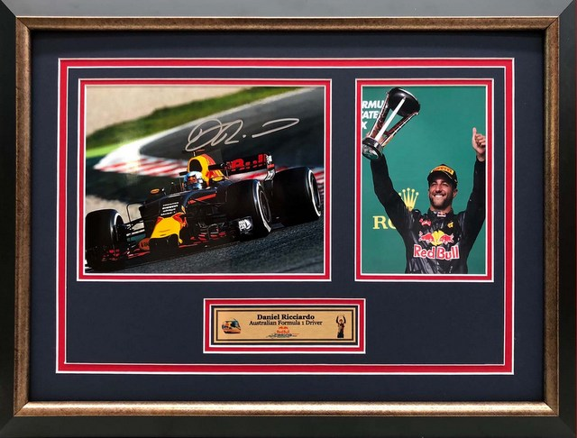 "Daniel Ricciardo Personally Signed ""Podium III"", Framed"